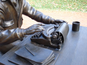 Closeup of Ernie Pyle's typewriter